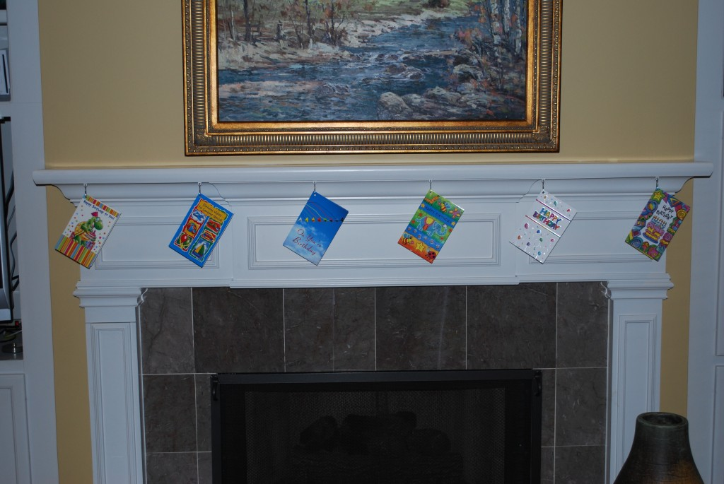 Mantel track allows easy decoratingBir