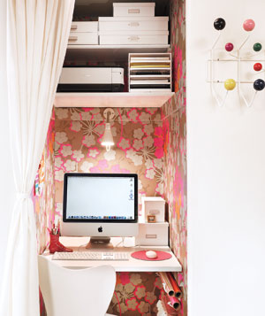 Home Office in Closet with Curtain Door
