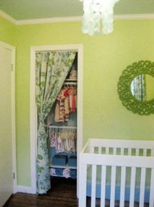 replacing door with curtains in nursery