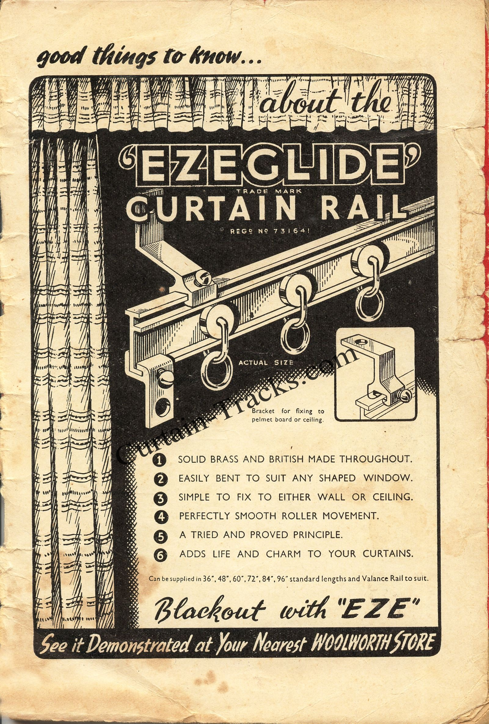 I Beam Curtain Track Ad - 1940