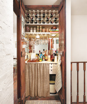 Bar for Entertaining Created in a Linen Closet