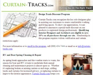 Subscribe to the Monthly Curtain-Tracks.com Email Newsletter