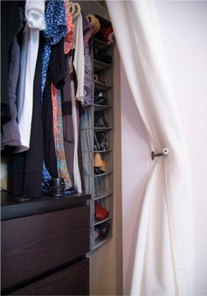 Small Closet? Big Solution: Curtains As Closet Door