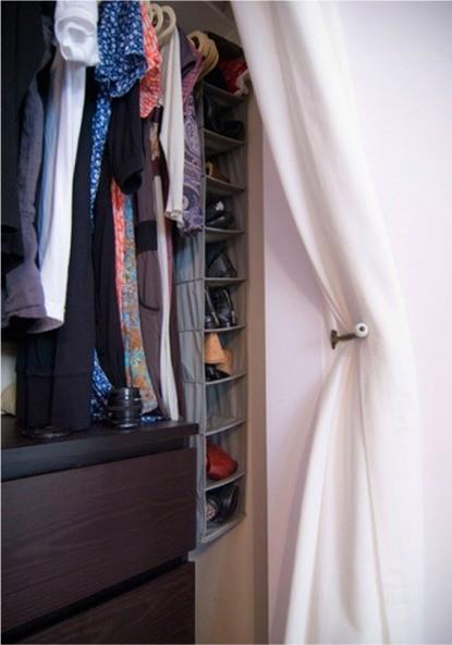 Small Closet? Big Solution: Curtains As Closet Door
